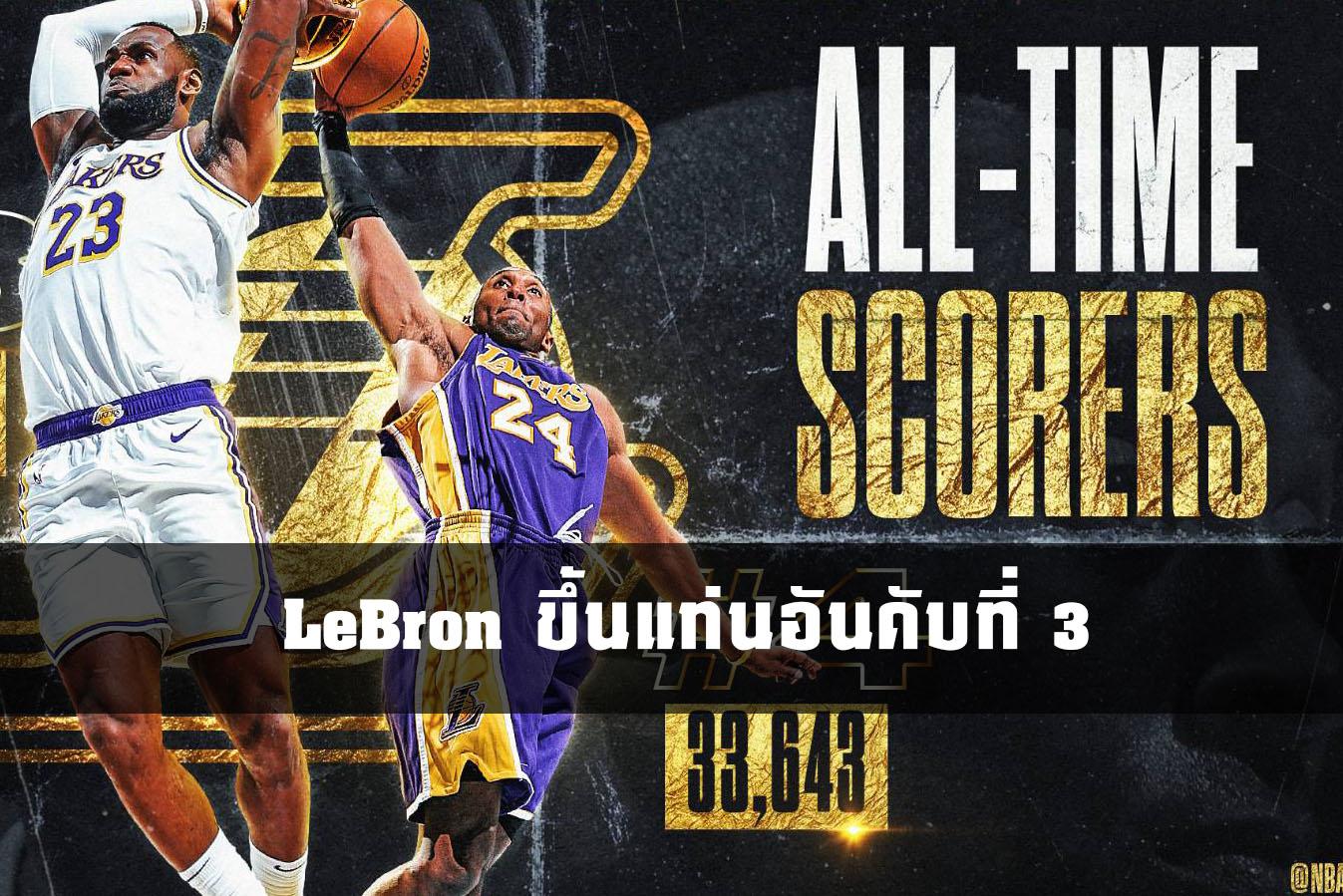 ขึ้นที่ 3 ตลอดกาล !! LeBron ขึ้นแท่นอันดับที่ 3 การทำแต้มสูงสุดตลอดกาลใน NBA