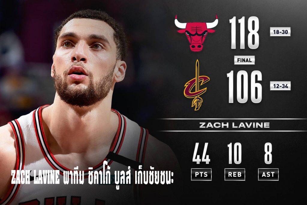 ZACH LAVINE พาทีม ชิคาโก้ บูลส์ เก็บชัยชนะ